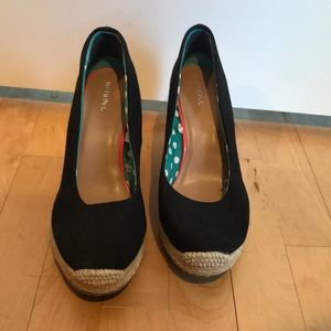 Merona Black espadrilles wedge.